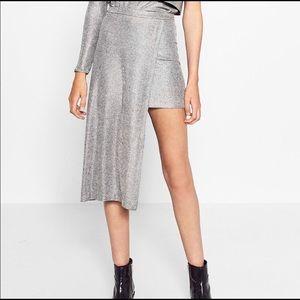 Zara Trafaluc XS Asymmetrical Mini Skirt Silver